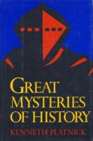 Ouvrages en langue �trang�re Great Mysteries of History Kenneth B. Platnick