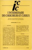 Journaux & revues L'Intermédiaire des Chercheurs et des Curieux
